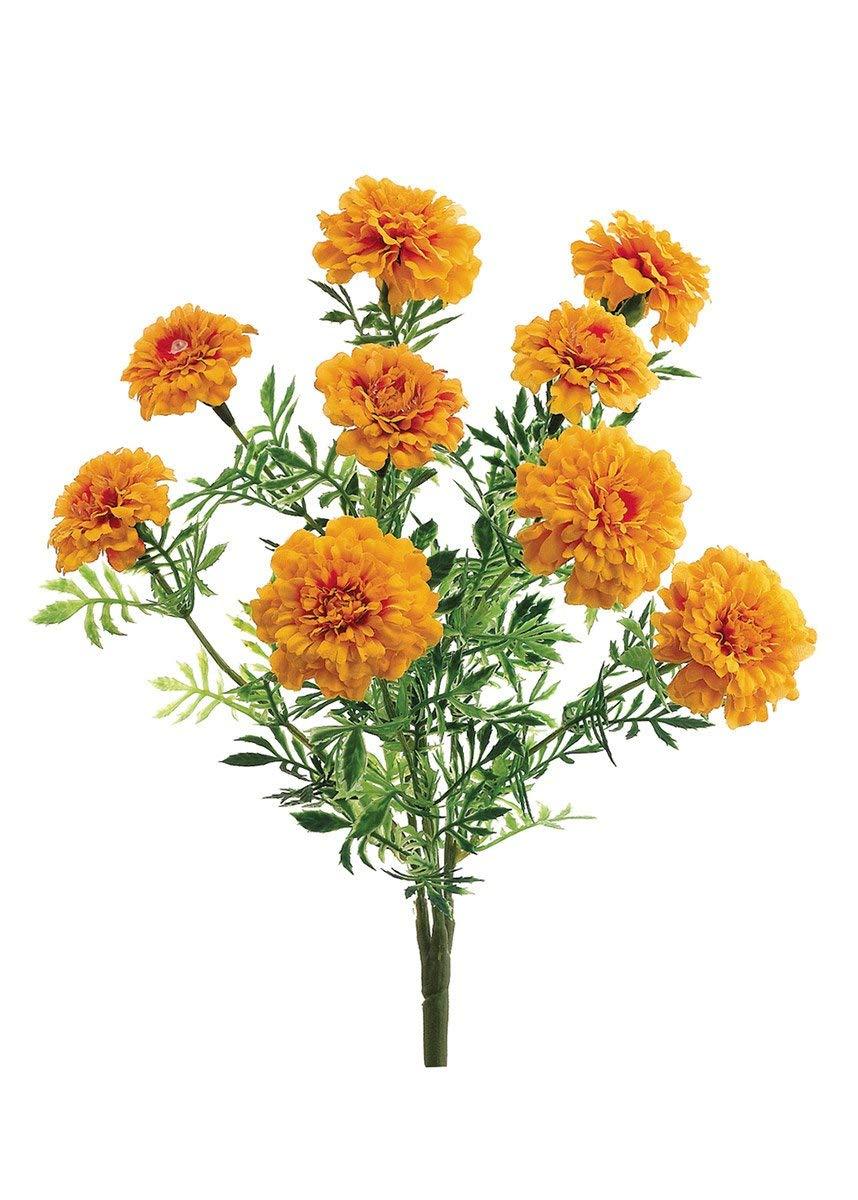 """silk flower arrangements artificial marigold bush - 13"""" tall"""