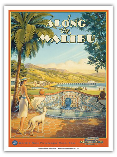 Along The Malibu - Motorcoach Touring Company - Adamson House (Taj Mahal of Tile) - Vintage Style Hawaiian Color Aquatint by Kerne Erickson - Master Art Print - 9in x 12in