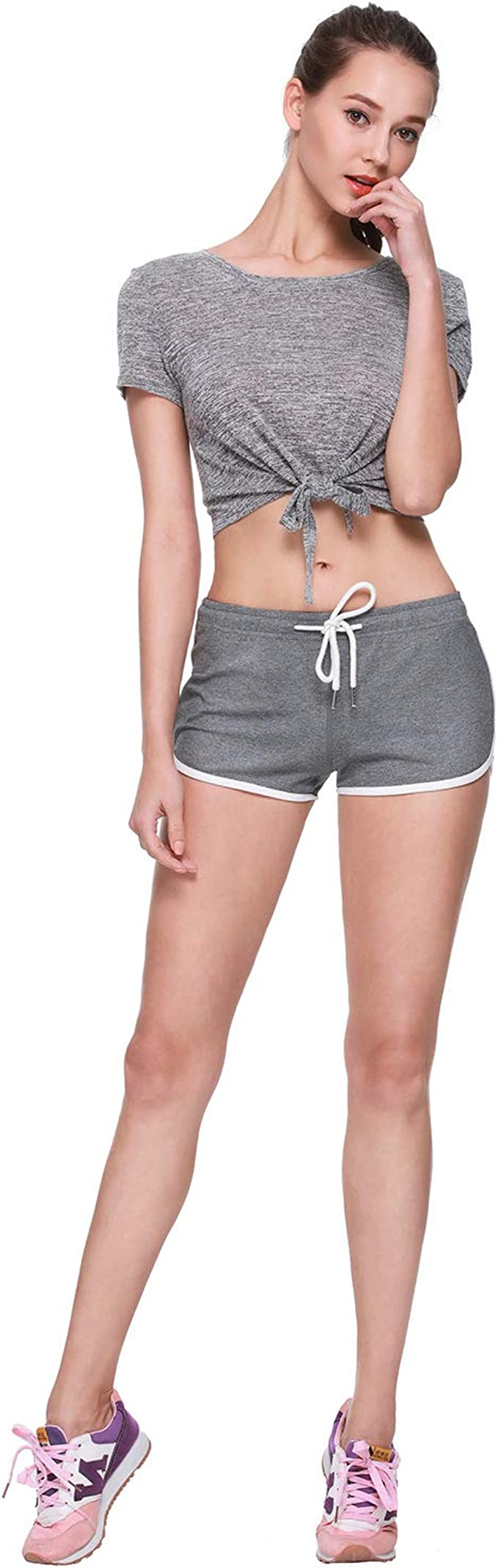 Osne4u Women Running Shorts Workout Yoga Short Pants Athletic Jogger Booty Shorts Elastic Waist with Drawstring Black