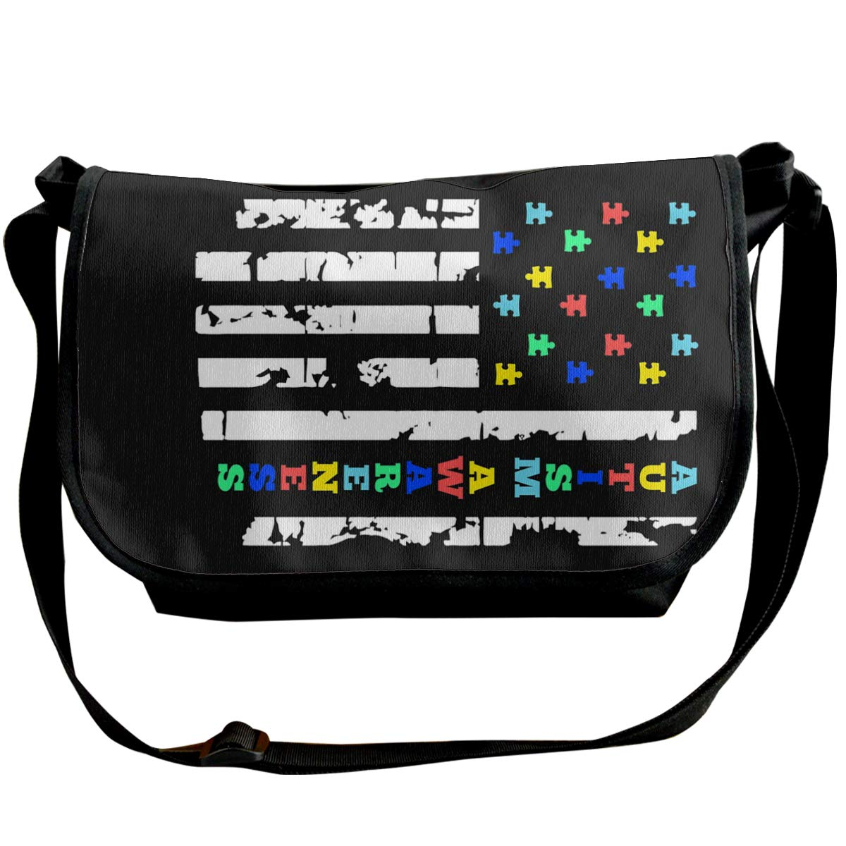Futong Huaxia Autism Awareness Flag Travel Messenger Bags Handbag Shoulder Bag Crossbody Bag Unisex