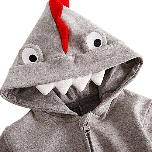 Bebone Baby Boys Cartoon Dinosaur Romper Long Sleeve Hooded Bodysuit Jumpsuit