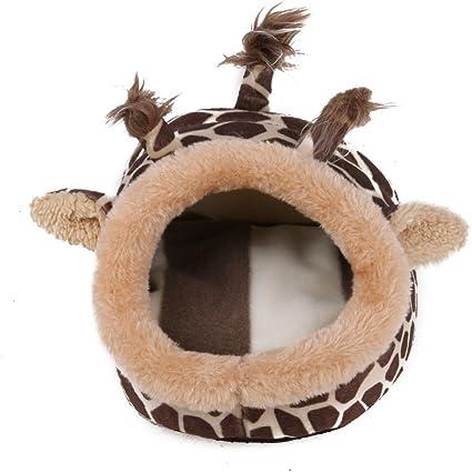 ttnight Small Animal House Animal Design Plush Cotton Hamster House Rat Ferret Cage Hammock Nest