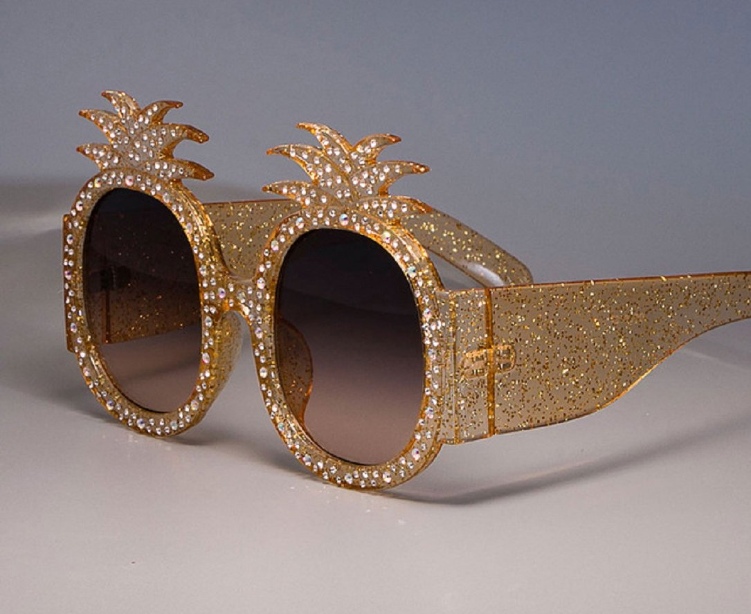 YABINA Oversized Round Sunglasses Women Pineapple Frame Fashion Modern Shades (A) by YABINA (Image #2)