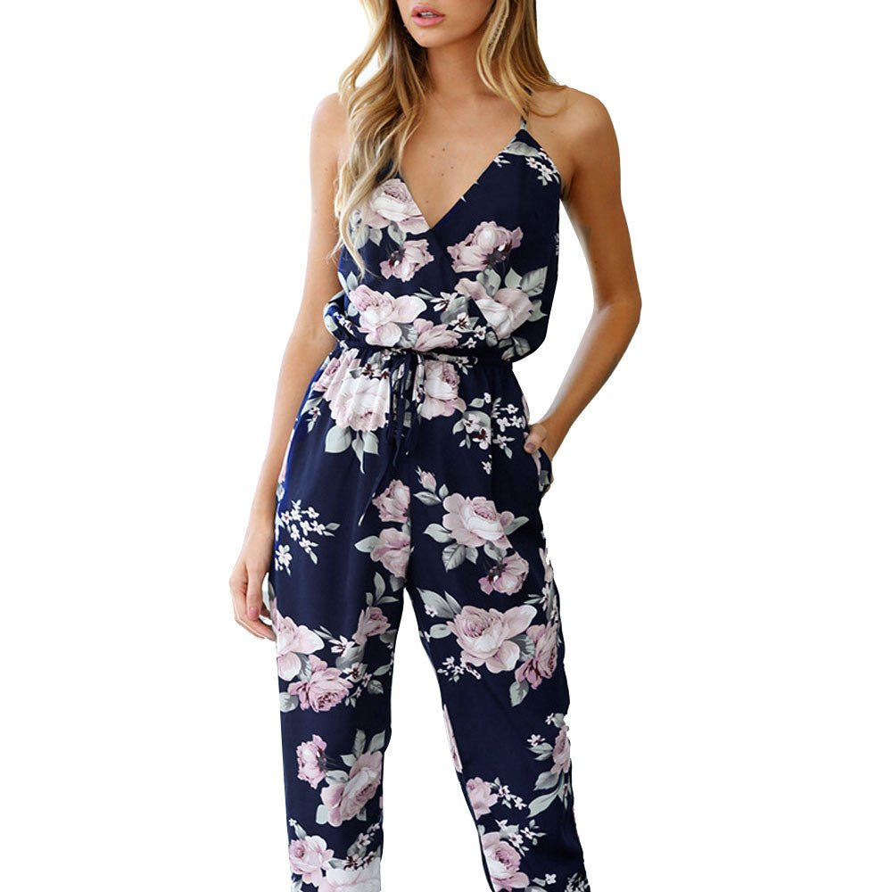 WILLTOO ✿ Women Jumpsuit Sleeveless V-Neck Floral Printed Playsuit Shiped from America (S, Navy)