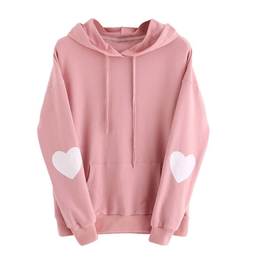KaiCran Fashion Sweatshirt Womens Long Sleeve Heart Hoodie Sweatshirt Jumper Hooded Pullover Tops Blouse (XXXLarge, Pink)
