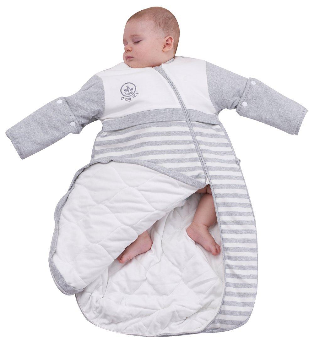 OuYun Baby Organic Sleeping Bag Detachable Sleeve Wearable Blanket,Grey, Small