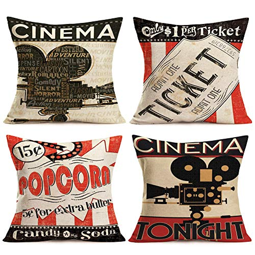Fukeen Vintage Cinema Decorative Pillow Covers Set of 4 Movie Theater with Fresh Popcorn, Projector, Admit One Ticket Decorative Pillow Cases Cotton Linen Square 18