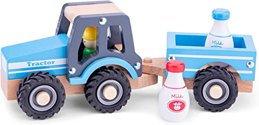 New Classic Toys Wooden Tractor with Trailer and Milk Bottles for Children 18 Months and Up Boys and Girls Baby Gifts: Amazon.co.uk: Toys & Games