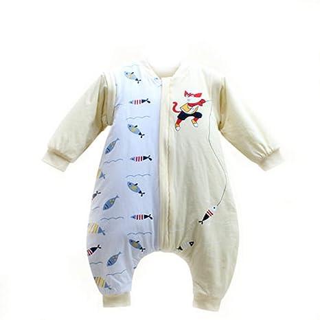 Saco de dormir de algodón para bebé con pierna 3.5Tog manga extraíble anti-kick