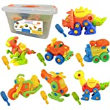 Kidwerkz Set of 7 Take Apart Toys - Dinosaurs Helicopter Train Truck Motorcycle - STEM Building Set - Hours of Fun - 198 Pieces - Engineering Kit for Boys Girls Toddlers - Age 3 4 5 +Year Old