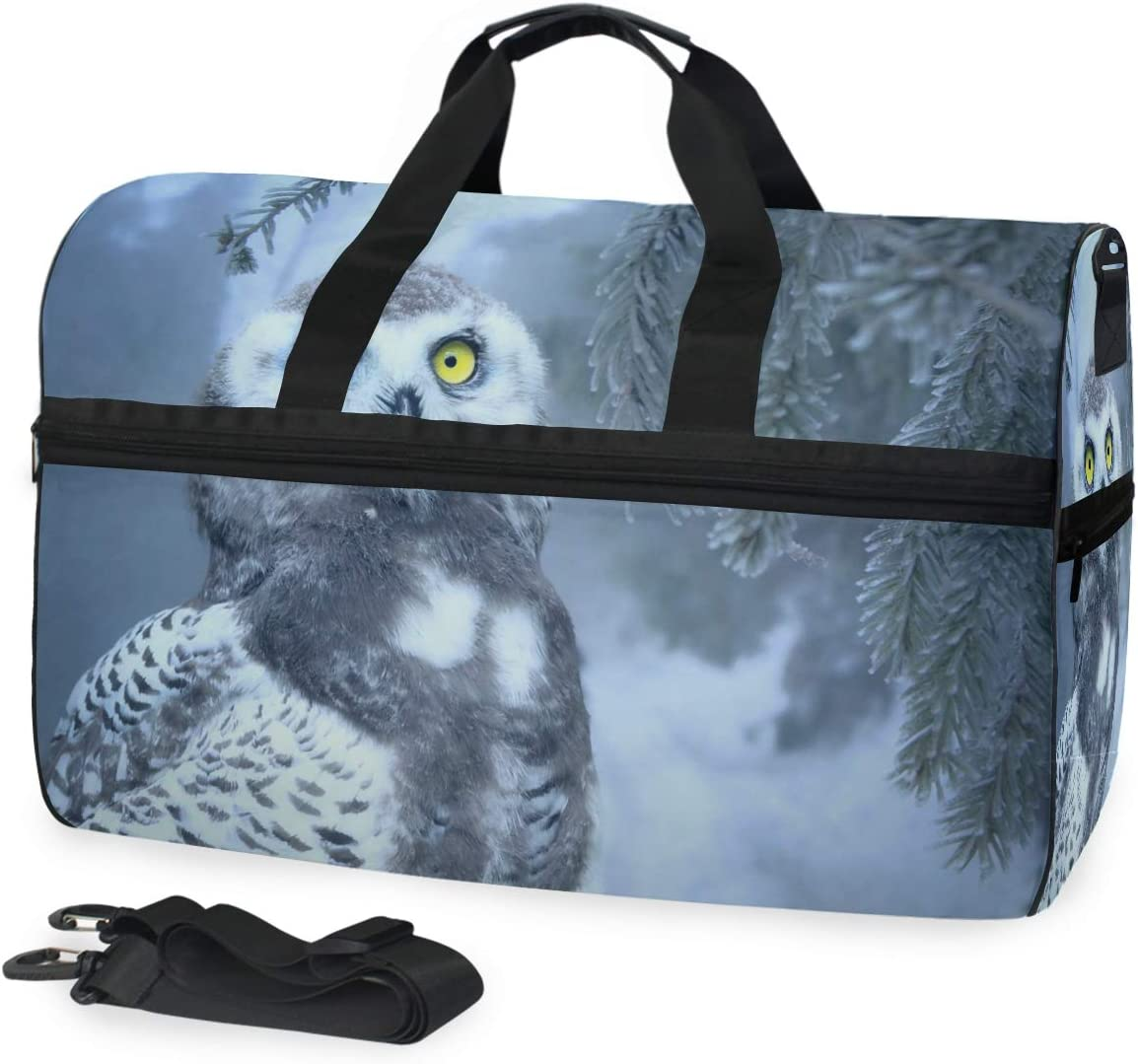 MUOOUM Animal Owl Large Duffle Bags Sports Gym Bag with Shoes Compartment for Men and Women