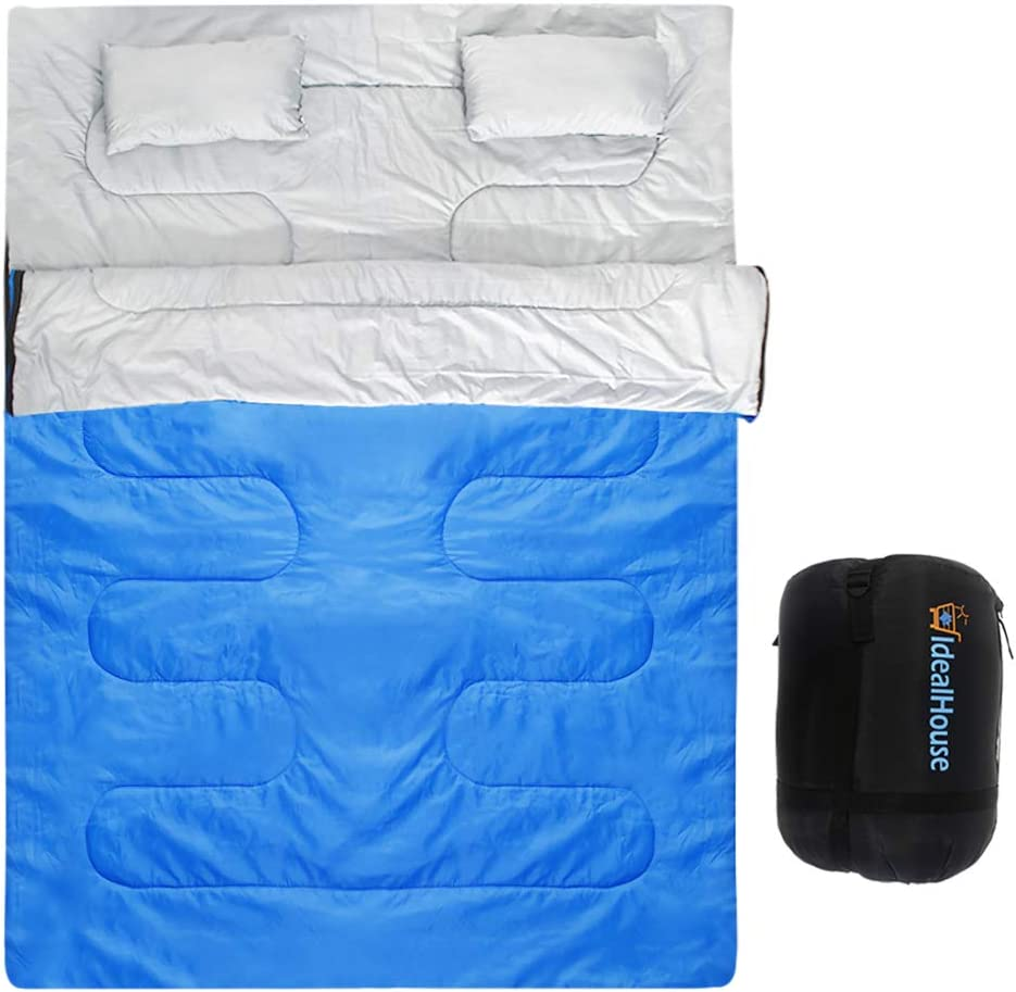 IDEALHOUSE Double Sleeping Bag, Waterproof 2 Person Sleeping Bag for Adults with Carry Bag and 2 Pillows, Perfect for Traveling,Camping,Hiking,Outdoor Music Festivals and more-Blue