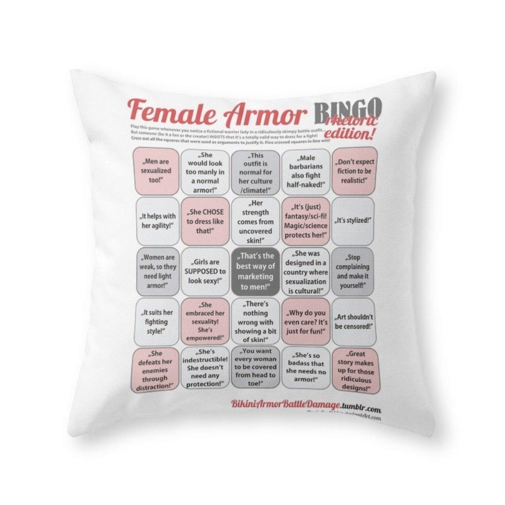 Society6 Female Armor Rhetoric Bingo Throw Pillow Indoor Cover (20'' x 20'') with pillow insert