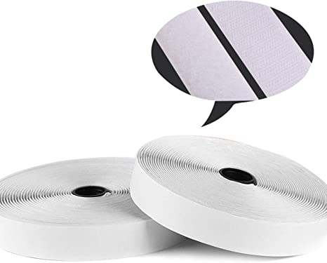 Sew on Hook and Loop Style 1 Inch Non-Adhesive Back Nylon Strips Fabric Fastener Non-Adhesive Interlocking Tape White,12.6 Yard