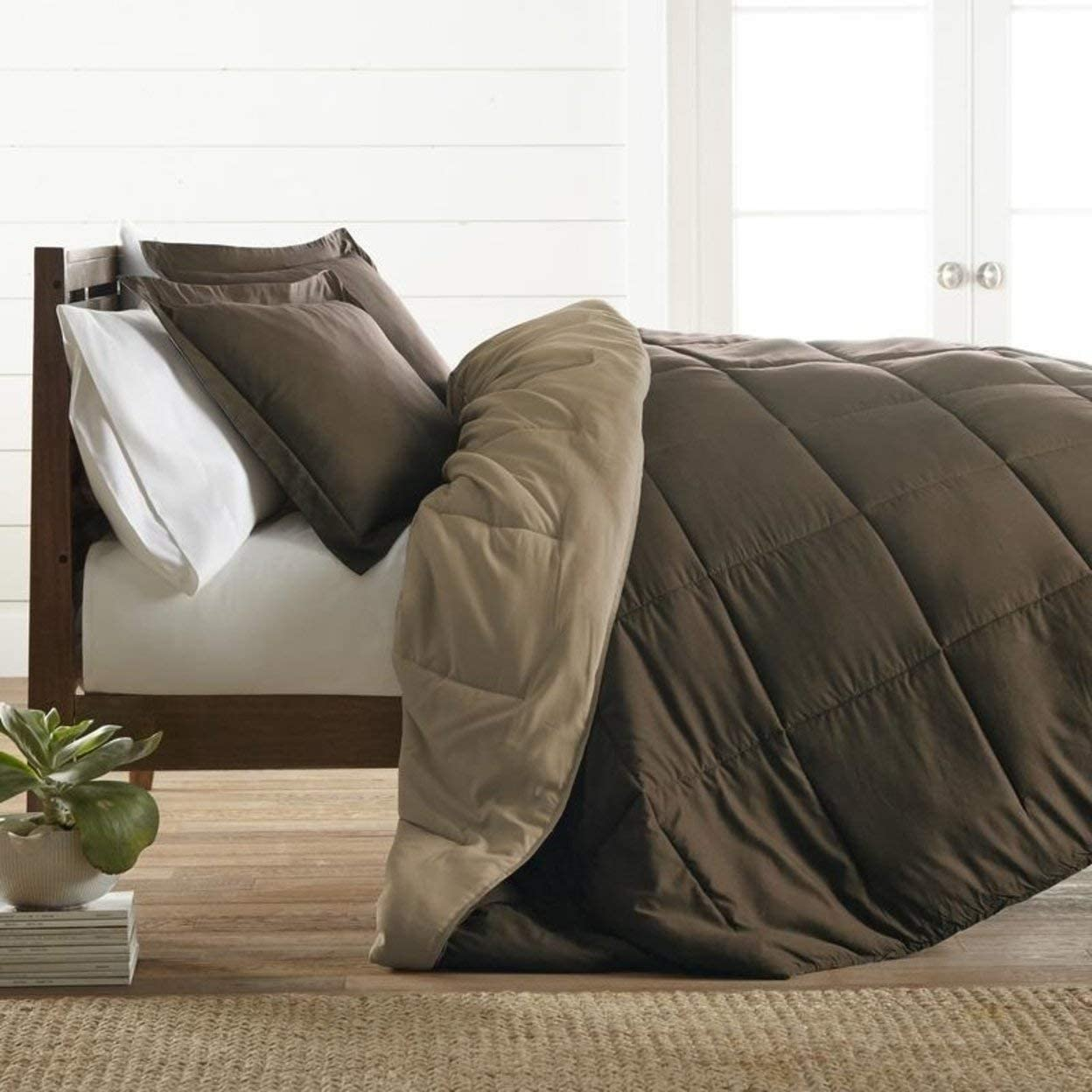 ienjoy Home Premium Down Alternative Reversible Comforter Set, King/Cal King, Taupe