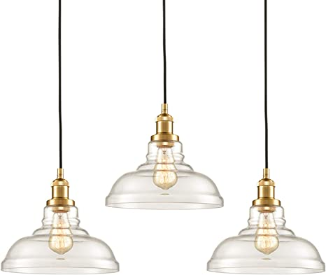 Claxy Industrial Brass Pendant Lighting Glass Kitchen Island Hanging Lights 3 Pack Amazon Com