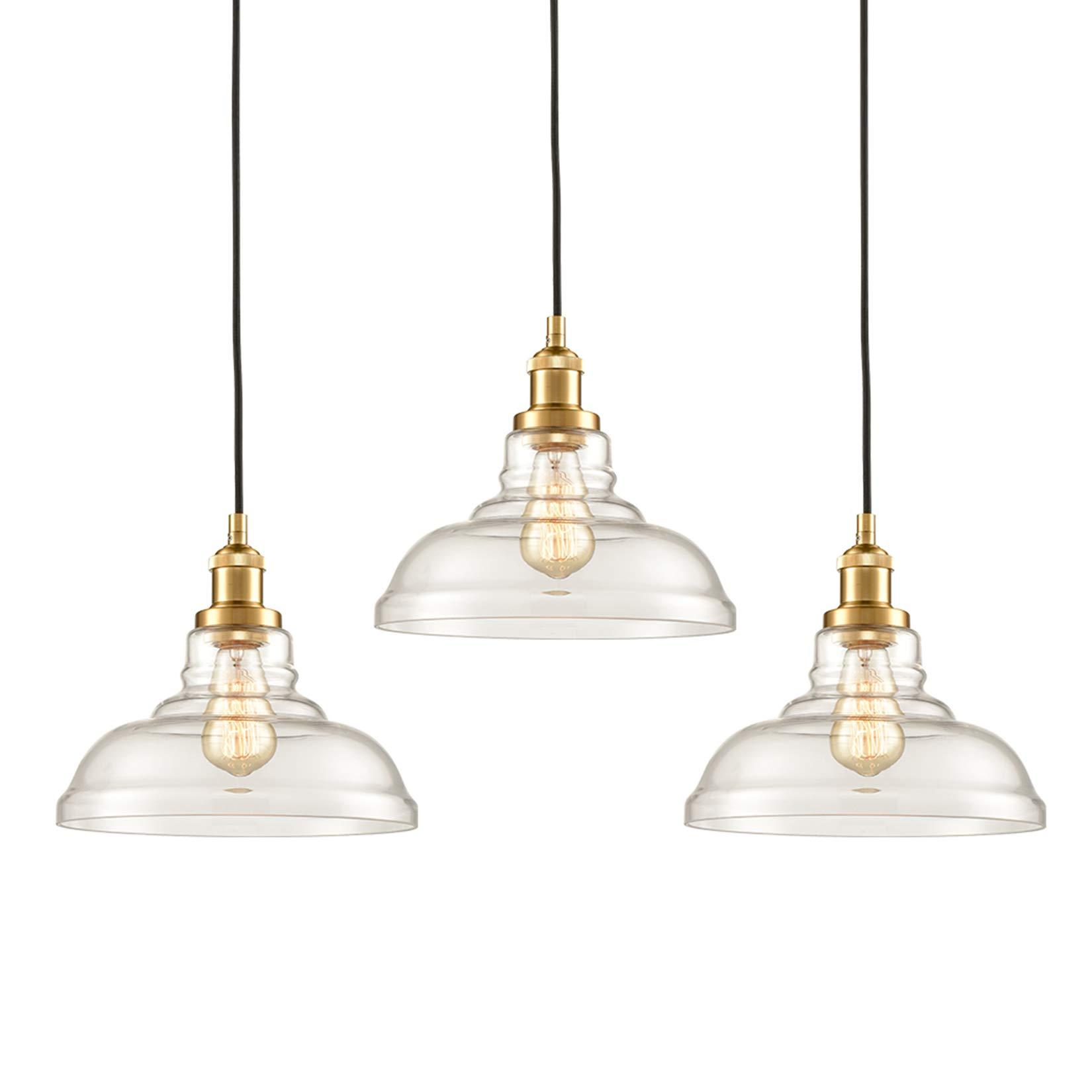 CLAXY Industrial Brass Pendant Lighting Glass Kitchen Island Hanging Lights-3 Pack