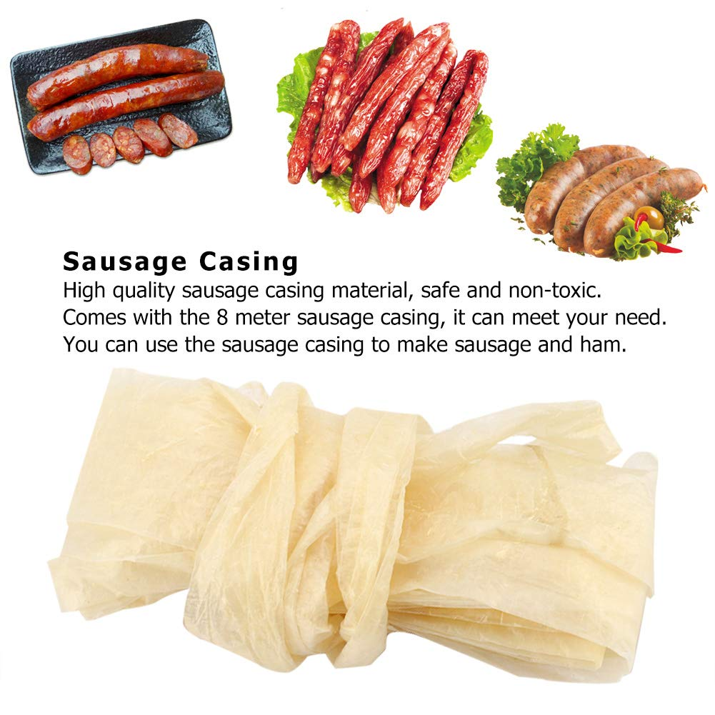 Fealay Drying Sausage Casing 8 Meters Edible Cantonese-Style Sausage Casing for Flavorous Homemade Sausages Ham
