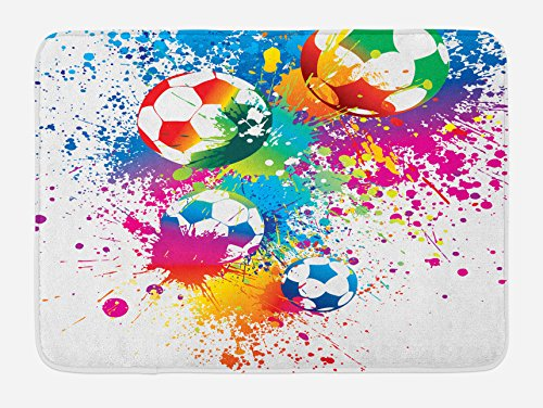 Ambesonne Soccer Bath Mat, Colored Splashes All Over Soccer Balls Score World Cup Championship Athletic, Plush Bathroom Decor Mat with Non Slip Backing, 29.5 X 17.5, Blue Multicolor