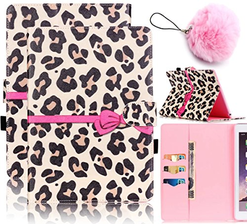 Galaxy Tab S2 9.7 Case,Vandot PU Leather Auto Wake/Sleep Magnetic Stand Wallet Case [Card Slots] Flip Folio Cover Painting Pattern for Samsung Galaxy Tab S2 9.7 inch SM-T810 T815-Hot Pink Bow Leopard - Samsung Galaxy S2 Bow Case