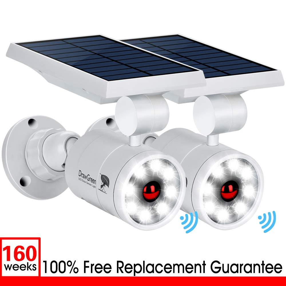 Outdoor Solar Motion Sensor Lights of 2, 9-Watt(110W Equ.) 1400-Lumen Spotlight, LED Solar Flood Security Lights for Garden Driveway Patio, 3-Year Battery Life, 160-Week 100% Replacement Guarantee by DrawGreen