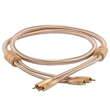 SKW alto contenido en oro cable de audio subwoofer 2 RCA plateado contenido al orador apasionado
