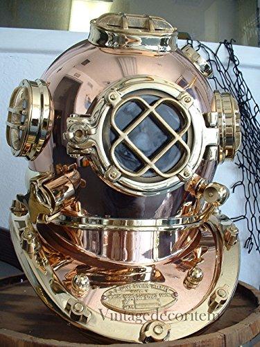 age Solid Copper Brass London Scuba Divers Diving Helmet Royal Navy Marine B ()