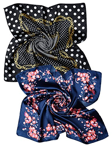 corciova Women's 23 Inches Square Head Scarf Scarves Black and White Dots with Pink Plum Flowers On Navy 2 Pack (Multi Dot White)