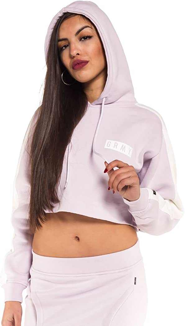 TALLA L. Grimey Sudadera Chica ASHE Crop Hoodie SS18 Lilac