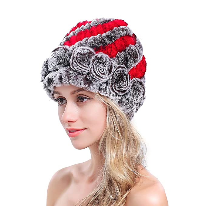 MEEFUR Women s Genuine Rex Rabbit Fur Hats Flower Real Fur Knitted Beanies  Winter Warm Skullies Caps 514487a25b8
