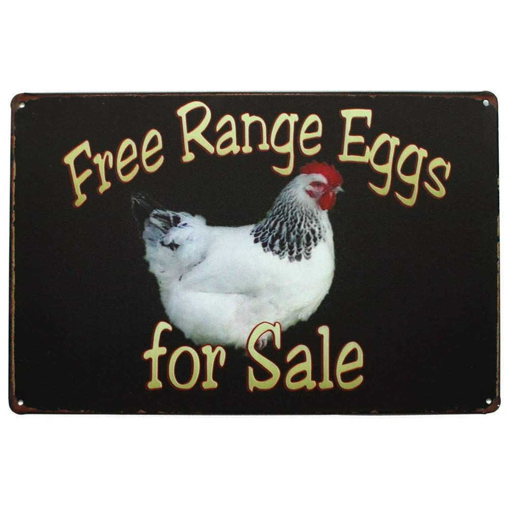 "Mega-deal Farm Free Range Eggs For Sale Retro Vintage Tin Bar Sign Country Home Decor 8"" x 12"""