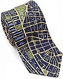 Josh Bach Mens CIVITAS Map of New York City Silk Necktie in Blue/Gold