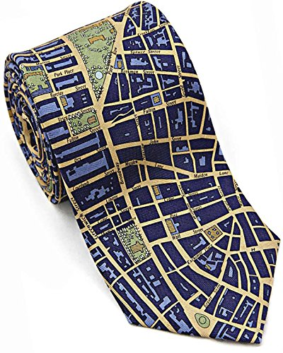 Josh Bach Mens CIVITAS Map of New York City Silk Necktie in Blue/Gold by Josh Bach