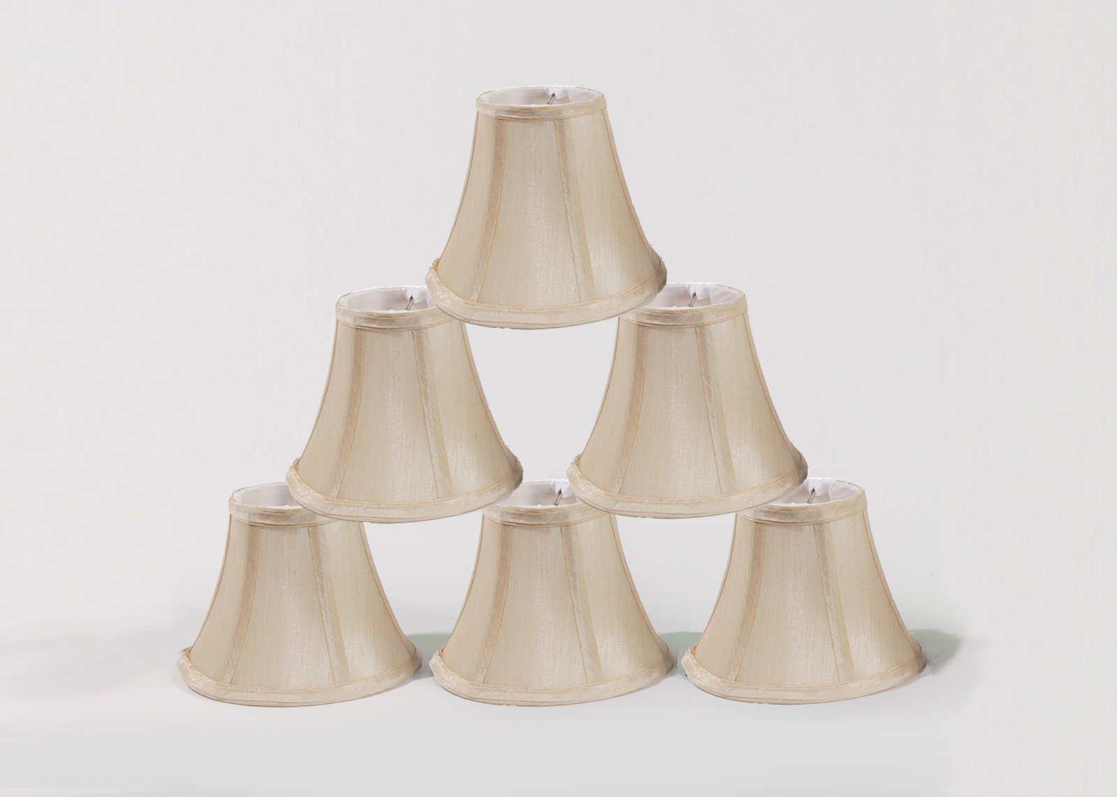 Urbanest Chandelier Lamp Shades, Set of 6, Soft Bell 3''x 6''x 5'' Cream , Clip on