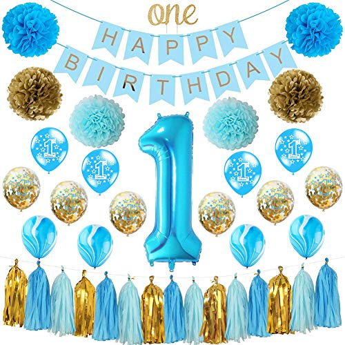 HankRobot First Birthday Decorations for Boys(39 Pack) 1st Baby Boy Number One Birthday Balloons Happy Birthday BannerOne Cake Topper- Great for First Bday Party Supplies(Prince) (Blue)