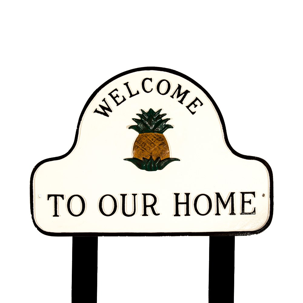 Montague Metal Products SP-48-WB White and Black Hand Painted Pineapple Welcome to Our Home Plaque with 2 23-Inch Lawn Stakes