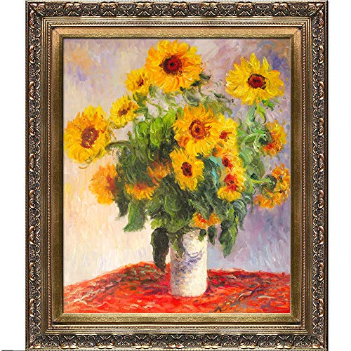 overstockArt Sunflowers Oil Painting with Baroque Wood Frame by Monet, Antiqued Gold Finish