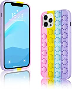 TULUOHU Sensory Push Pop Bubble Toy for iPhone 12 Pro Max Case 6.7inch,Cute Cartoon Rainbow Design 3D Shockproof Soft Silicone Protective Case for Women Girls Men(iPhone 12 Pro Max-6.7)