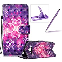 Rope Leather Case for Samsung Galaxy J320 2016,Stand Wallet Flip Case for Samsung Galaxy J320 2016,Herzzer Bookstyle Stylish 3D Hearts Flower Pattern Magnetic PU Leather with Soft Silicone Inner Back Case for Samsung Galaxy J320 2016