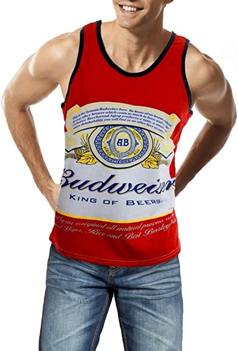 16743cb437239e Amazon.com  Budweiser King of Beers Label Logo Men s White Tank Top ...