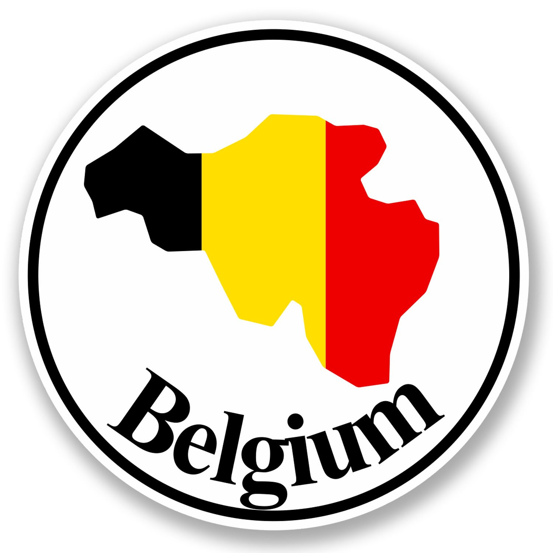 2 x Belgium Flag Vinyl Sticker Laptop Travel Luggage #4416