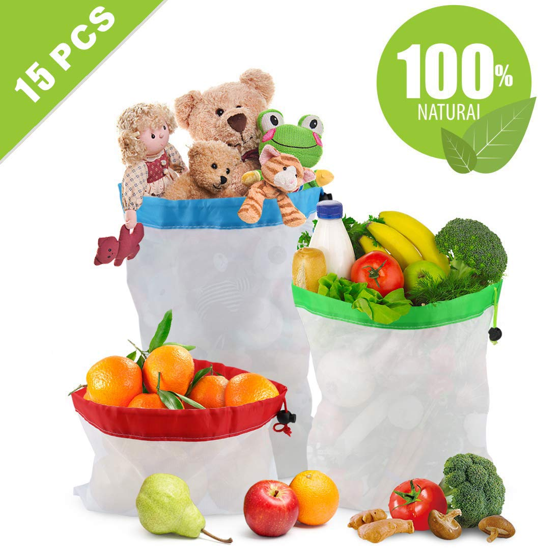 プレミアム再利用可能な野菜バッグ15枚セット シースルー 食品に安全なショッピング メッシュバッグ 引き紐付き フルーツや野菜用 軽量 洗濯可能 収納ネットバッグ (16.7 x 12.2, 13.8 x 12.2, 8.3 x 12.2インチ) B07QTK7523