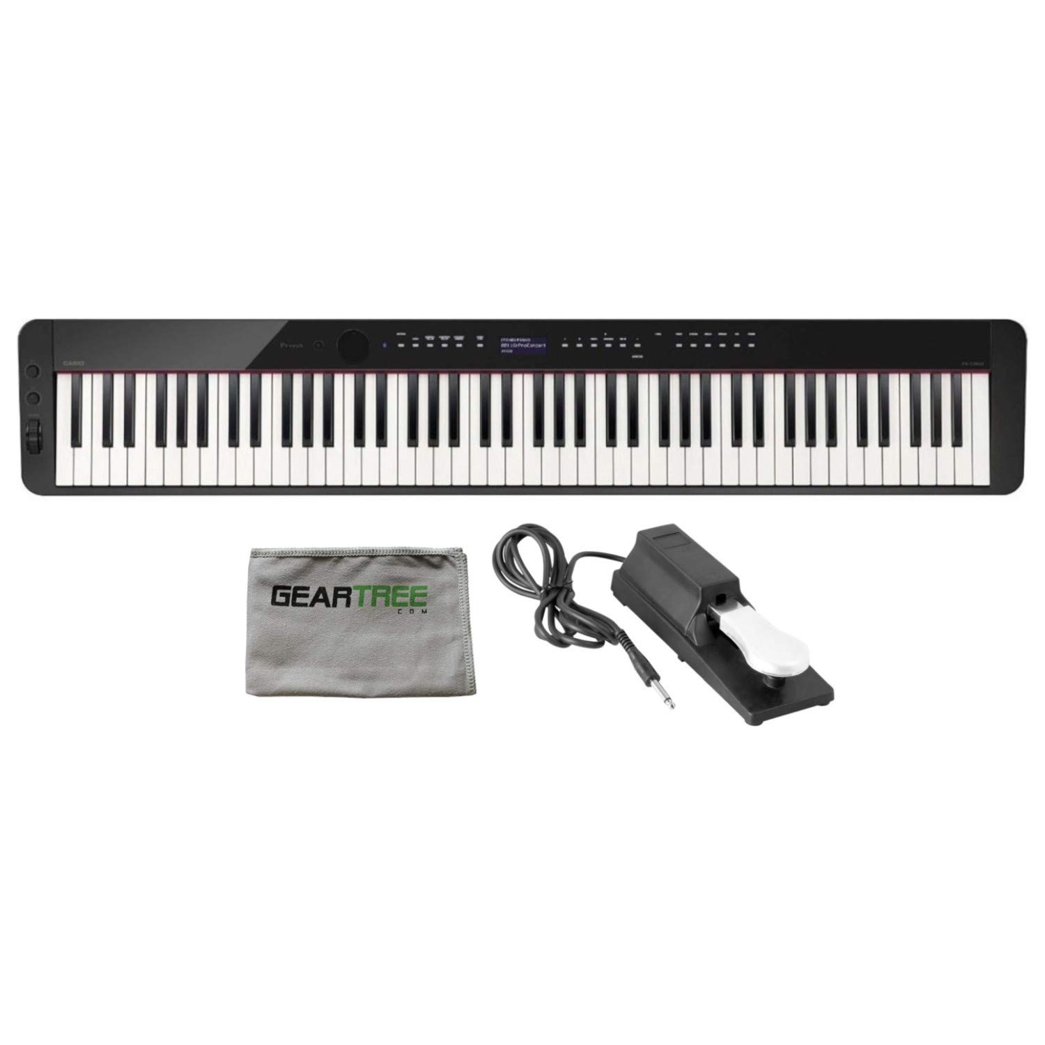 Casio PX-S3000BK 88 Weighted Key Digital Piano w/Cleaning Cloth and Sustain Ped by Casio