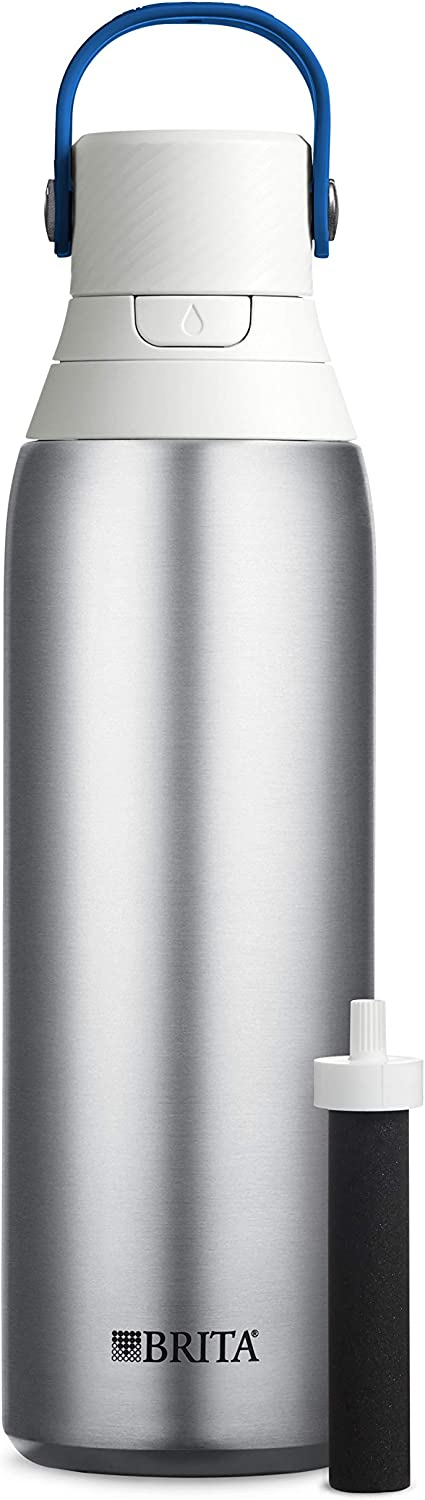 Brita 20 Ounce Premium Filtering Water Bottle with FilterBPA Free - Stainless Steel