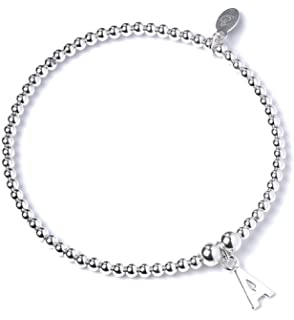 Trink Initial 'L' Letter Charm Sterling Silver Beaded Bracelet