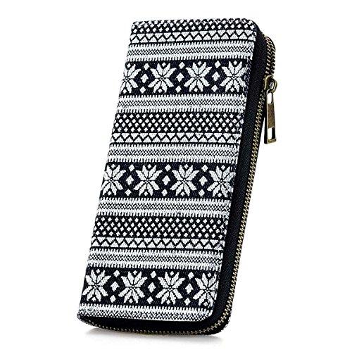 RUNWINDY Womens Canvas Wallet Zipper Around Long Clutch Purse Wristlet Handbag (Wallets Clutch Girl)