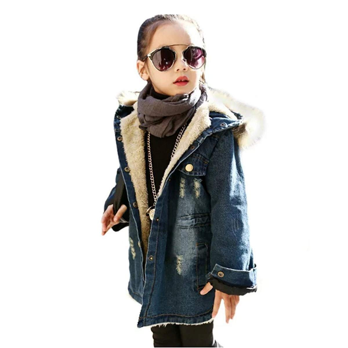 Kids Little Big Girls Winter Hooded Fur Collar Thick Denim Jacket Coat Outwear (Blue, 9-10Years)