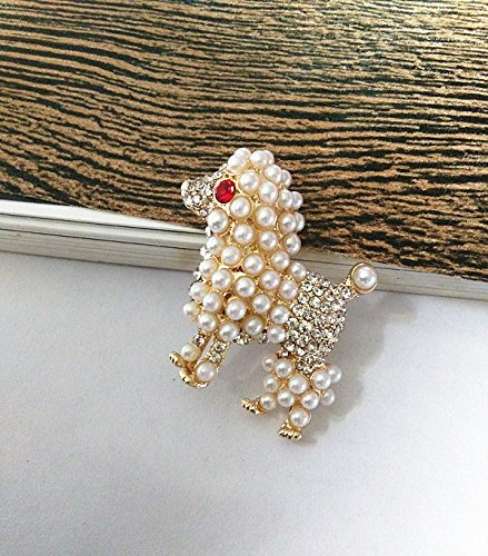 (European and American fine antique vintage red eyes animal cute poodle brooch)