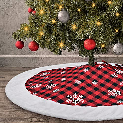 Ivarunner 48 inch Large Christmas Tree Skirt,Red Buffalo Plaid Tree Skirt with White Faux Fur Border Tree Skirt,Farmhouse White Snowflake Tree Mats Xmas Thanksgiving Holiday Decorations
