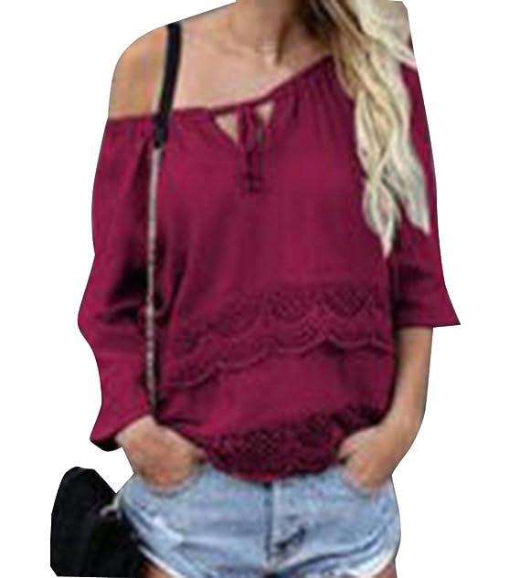 Mujeres Camisetas Manga Larga Blusas Flores Camisas Shoulder Off Suelta Shirt Vino Rojo XL
